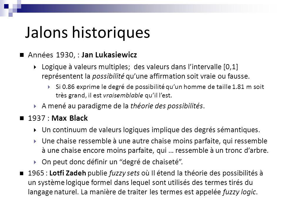 n Années 1930, : Jan Lukasiewicz  Logique à valeurs multiples; des valeurs dans l'intervalle [0,1] représentent la possibilité qu'une affirmation soi