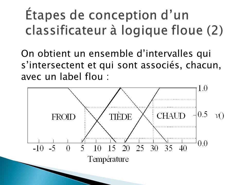 On obtient un ensemble d'intervalles qui s'intersectent et qui sont associés, chacun, avec un label flou :