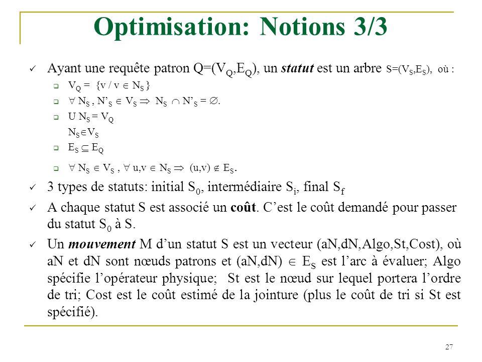 27 Optimisation: Notions 3/3 Ayant une requête patron Q=(V Q,E Q ), un statut est un arbre S=(V S,E S ), où :  V Q = {v / v  N S }   N S, N' S  V S  N S  N' S = .