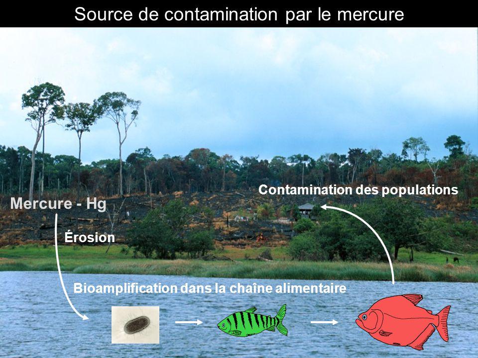 Mercure - Hg Érosion Contamination des populations Bioamplification dans la chaîne alimentaire Source de contamination par le mercure