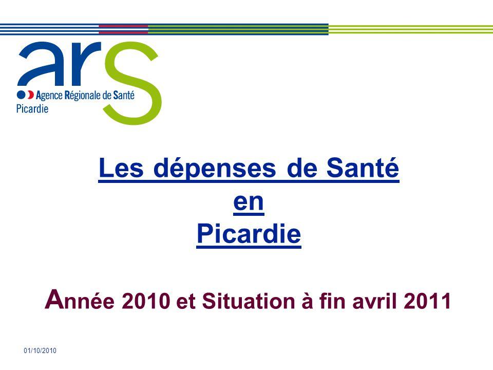 01/10/2010 Les dépenses de Santé en Picardie A nnée 2010 et Situation à fin avril 2011