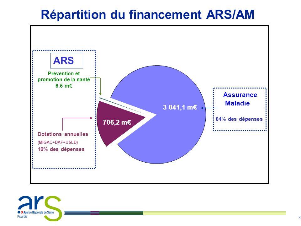 3 Prévention et promotion de la santé 6.5 m€ Dotations annuelles (MIGAC+DAF+USLD) 16% des dépenses 706,2 m€ Assurance Maladie 84% des dépenses 3 841,1