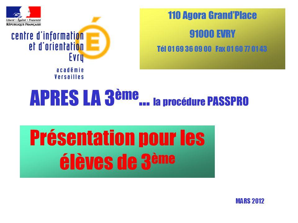 Présentation pour les élèves de 3 ème APRES LA 3 ème … la procédure PASSPRO 110 Agora Grand'Place 91000 EVRY Tél 01 69 36 09 00 Fax 01 60 77 01 43 MARS 2012