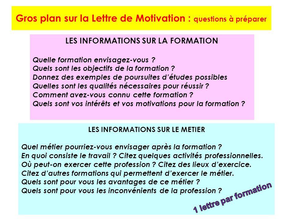 Gros plan sur la Lettre de Motivation : questions à préparer LES INFORMATIONS SUR LA FORMATION Quelle formation envisagez-vous .