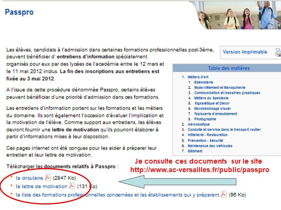 Je consulte ces documents sur le site http://www.ac-versailles.fr/public/passpro