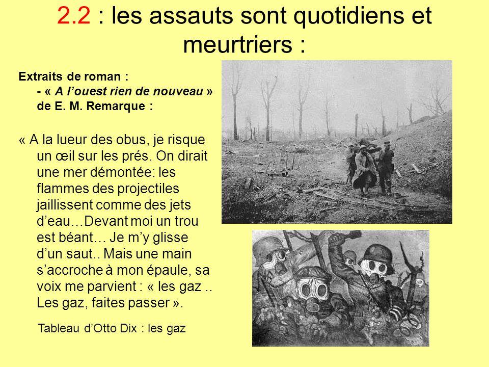 2.2 : les assauts sont quotidiens et meurtriers : Extraits de roman : - « A l'ouest rien de nouveau » de E. M. Remarque : « A la lueur des obus, je ri