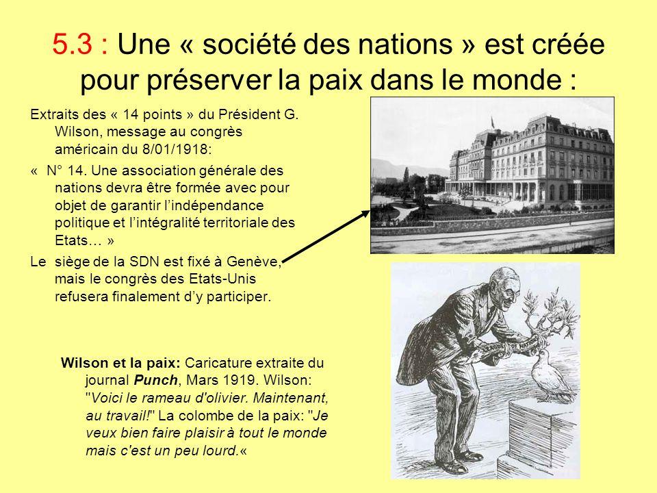 5.3 : Une « société des nations » est créée pour préserver la paix dans le monde : Wilson et la paix: Caricature extraite du journal Punch, Mars 1919.