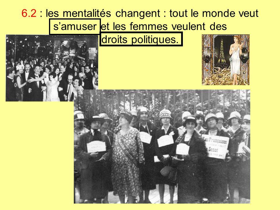6.2 : les mentalités changent : tout le monde veut s'amuser et les femmes veulent des droits politiques.