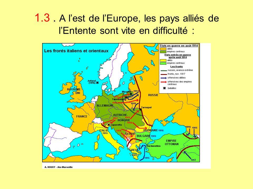 1.3. A l'est de l'Europe, les pays alliés de l'Entente sont vite en difficulté :