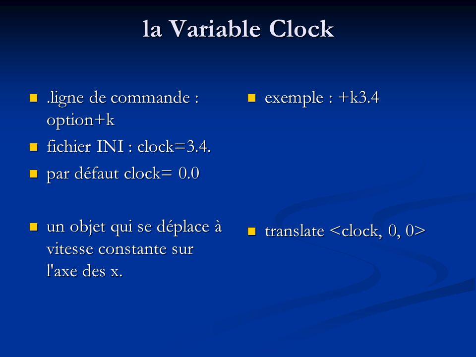 multiples changements simultanément dans la même scène normaliser clock normaliser clock balle rayée qui roule de gauche à droite balle rayée qui roule de gauche à droite sphère à l origine sphère à l origine tourne de 360 degrés =>360*clock tourne de 360 degrés =>360*clock translation pour placer la sphère à son point de départ translation pour placer la sphère à son point de départ translation d une distance proportionnelle à clock translation d une distance proportionnelle à clock =>2*pi* r*clock clock  [0,1] #include colors.inc camera {location look_at } light_source { color White } plane {y, 0 pigment { …}} sphere {, 1 pigment {…} rotate translate }