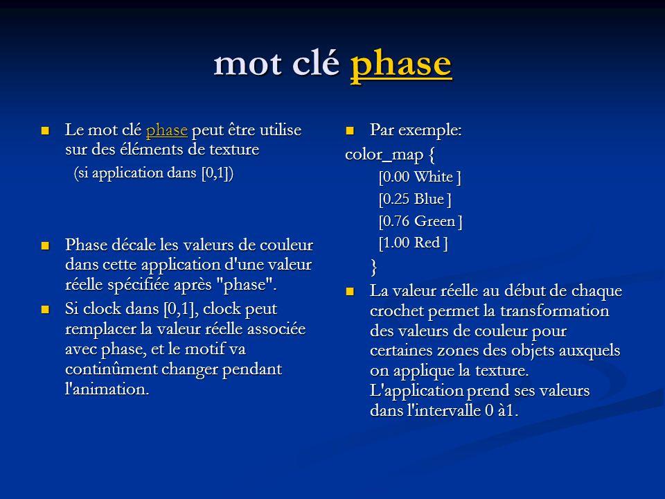 Exemple avec phase #include colors.inc #include textures.inc background { … } camera {…} light_source { … } //flagpole cylinder {,, 0.05 texture { Silver_Metal }} // polecap sphere {, 0.1 texture { Silver_Metal }} // flag polygon { 5,,,,, pigment { Blue } normal {gradient x phase clock scale sine_wave} scale translate } drapeau bleu avec un motif de gradient de normales, ondulation de type sinus ( le drapeau roule d arrière en avant comme s il était soumis au vent)