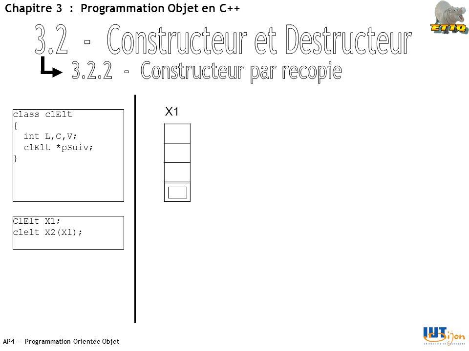 AP4 - Programmation Orientée Objet Chapitre 3 : Programmation Objet en C++ class clElt { int L,C,V; clElt *pSuiv; } ClElt X1; clelt X2(X1); X1