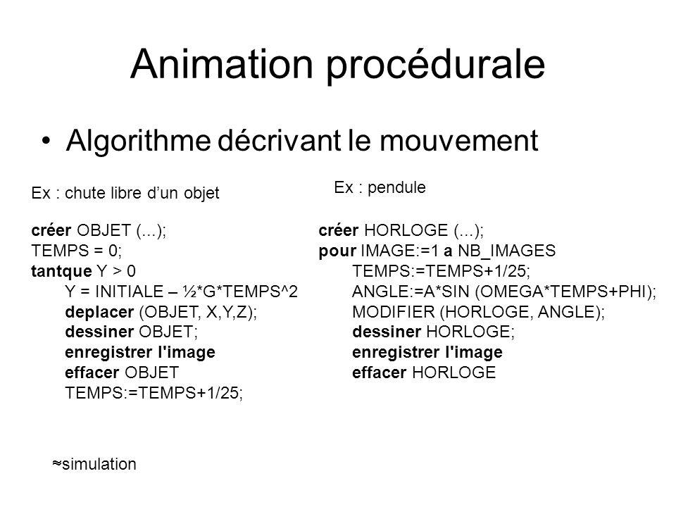 Animation procédurale Algorithme décrivant le mouvement créer OBJET (...); TEMPS = 0; tantque Y > 0 Y = INITIALE – ½*G*TEMPS^2 deplacer (OBJET, X,Y,Z)