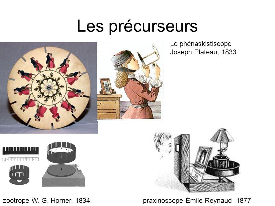 Les précurseurs Le phénaskistiscope Joseph Plateau, 1833 zootrope W. G. Horner, 1834praxinoscope Émile Reynaud 1877