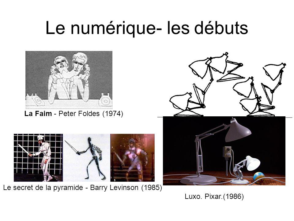 Le numérique- les débuts Le secret de la pyramide - Barry Levinson (1985) La Faim - Peter Foldes (1974) Luxo. Pixar.(1986)