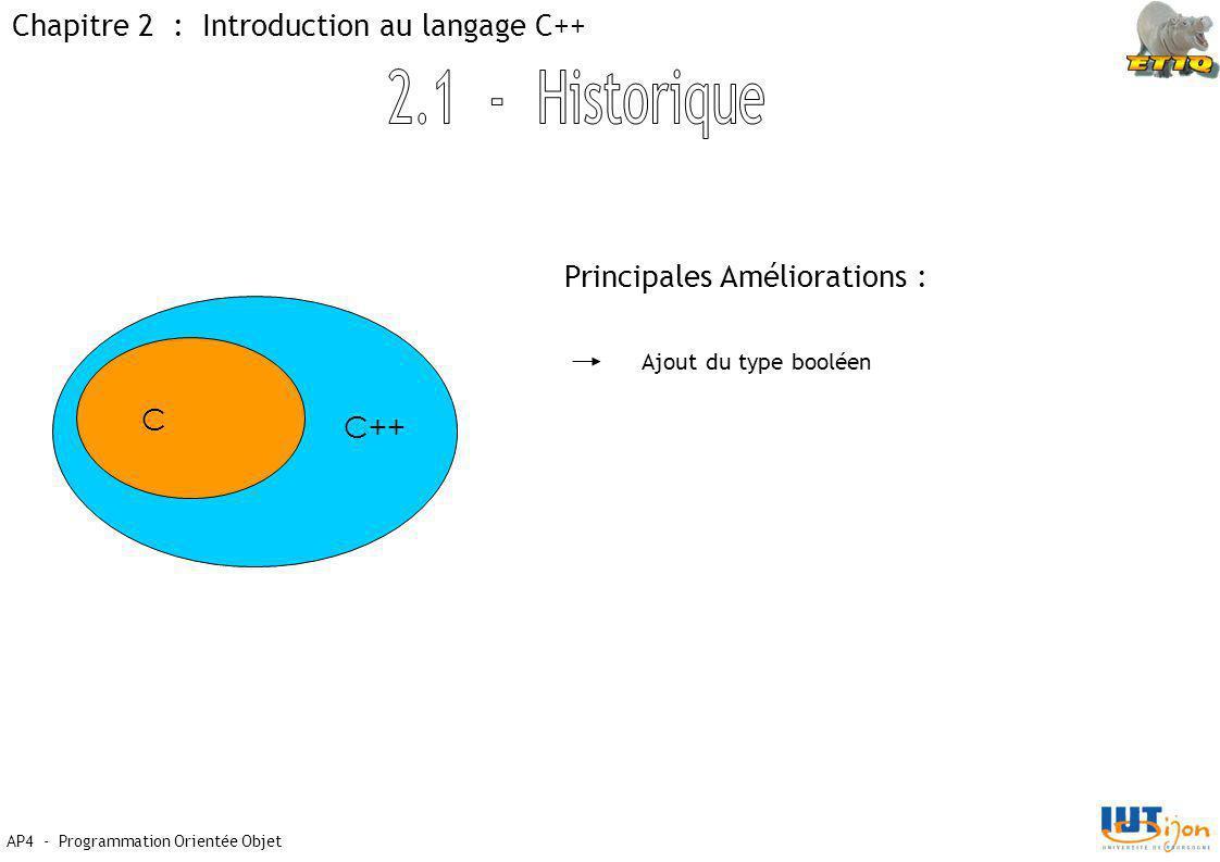 AP4 - Programmation Orientée Objet Chapitre 2 : Introduction au langage C++ C C++ Principales Améliorations : Ajout du type booléen