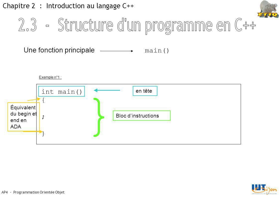 AP4 - Programmation Orientée Objet Chapitre 2 : Introduction au langage C++ Une fonction principale main() int main() { ; } en tête Équivalent du begin et end en ADA } Bloc d'instructions Exemple n°1 :