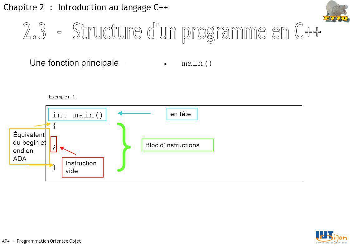 AP4 - Programmation Orientée Objet Chapitre 2 : Introduction au langage C++ Une fonction principale main() int main() { ; } en tête Équivalent du begin et end en ADA Instruction vide } Bloc d'instructions Exemple n°1 :