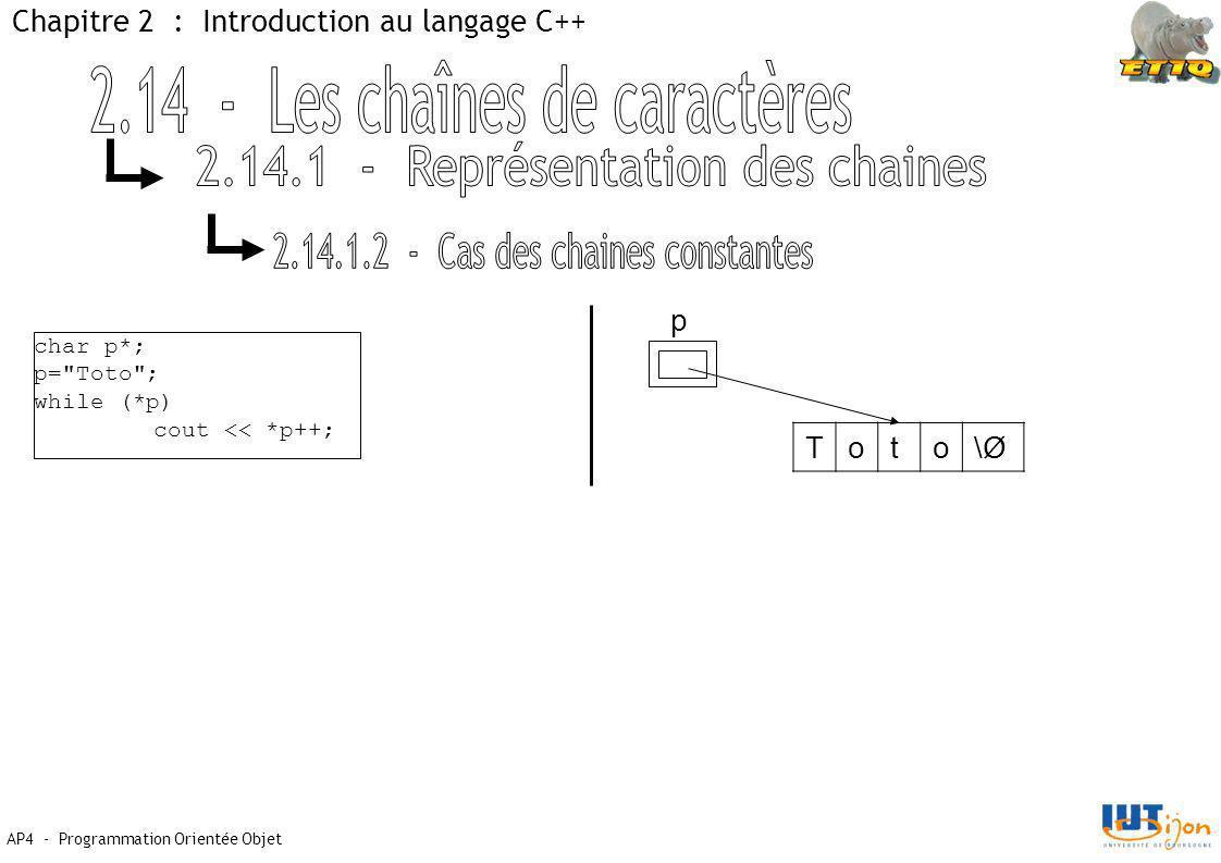 AP4 - Programmation Orientée Objet Chapitre 2 : Introduction au langage C++ char p*; p= Toto ; while (*p) cout << *p++; p Toto\Ø\Ø