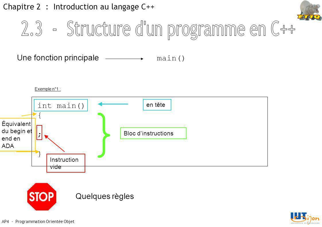 AP4 - Programmation Orientée Objet Chapitre 2 : Introduction au langage C++ Une fonction principale main() int main() { ; } en tête Équivalent du begin et end en ADA Instruction vide } Bloc d'instructions Quelques règles Exemple n°1 :