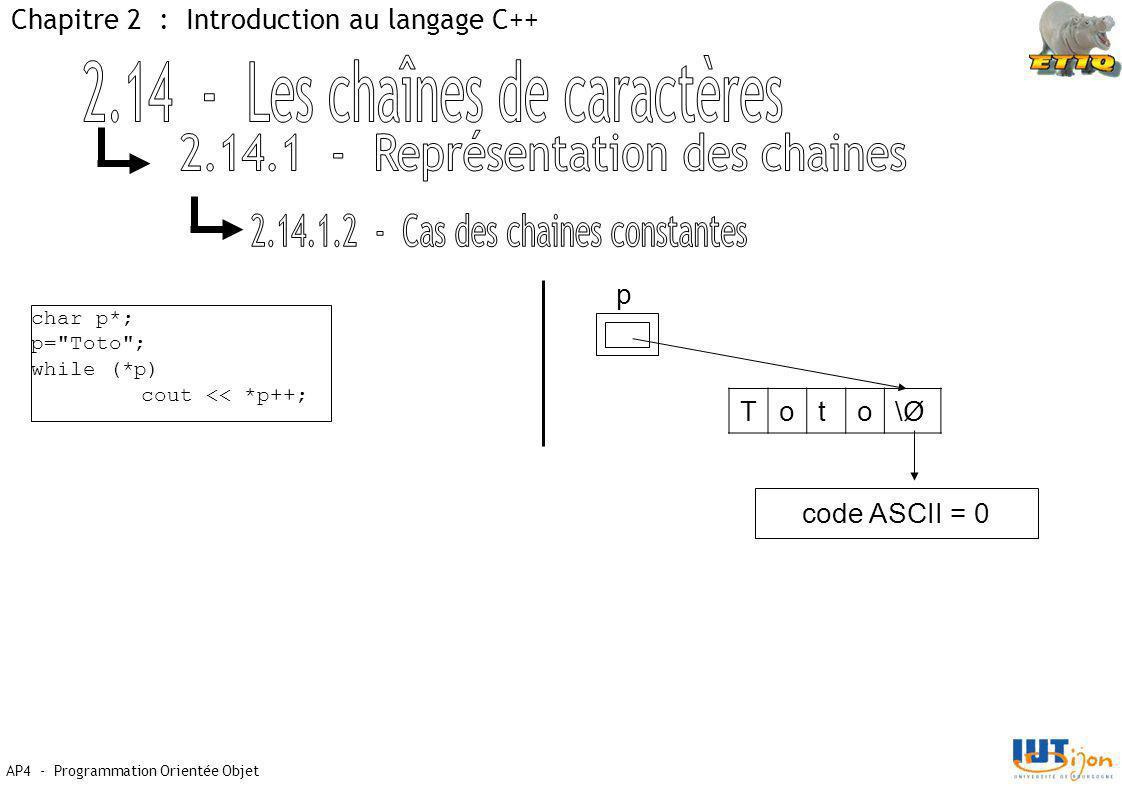 AP4 - Programmation Orientée Objet Chapitre 2 : Introduction au langage C++ char p*; p= Toto ; while (*p) cout << *p++; p Toto\Ø\Ø code ASCII = 0