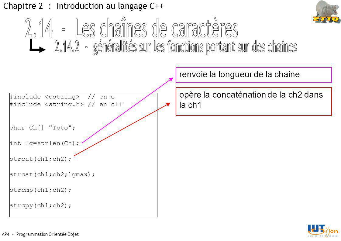 AP4 - Programmation Orientée Objet Chapitre 2 : Introduction au langage C++ #include // en c #include // en c++ char Ch[]= Toto ; int lg=strlen(Ch); strcat(ch1;ch2); strcat(ch1;ch2;lgmax); strcmp(ch1;ch2); strcpy(ch1;ch2); renvoie la longueur de la chaine opère la concaténation de la ch2 dans la ch1
