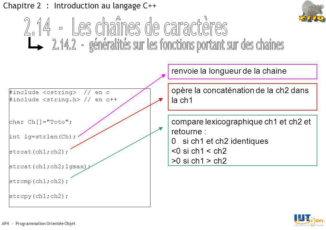 AP4 - Programmation Orientée Objet Chapitre 2 : Introduction au langage C++ #include // en c #include // en c++ char Ch[]= Toto ; int lg=strlen(Ch); strcat(ch1;ch2); strcat(ch1;ch2;lgmax); strcmp(ch1;ch2); strcpy(ch1;ch2); renvoie la longueur de la chaine opère la concaténation de la ch2 dans la ch1 compare lexicographique ch1 et ch2 et retourne : 0 si ch1 et ch2 identiques <0 si ch1 < ch2 >0 si ch1 > ch2