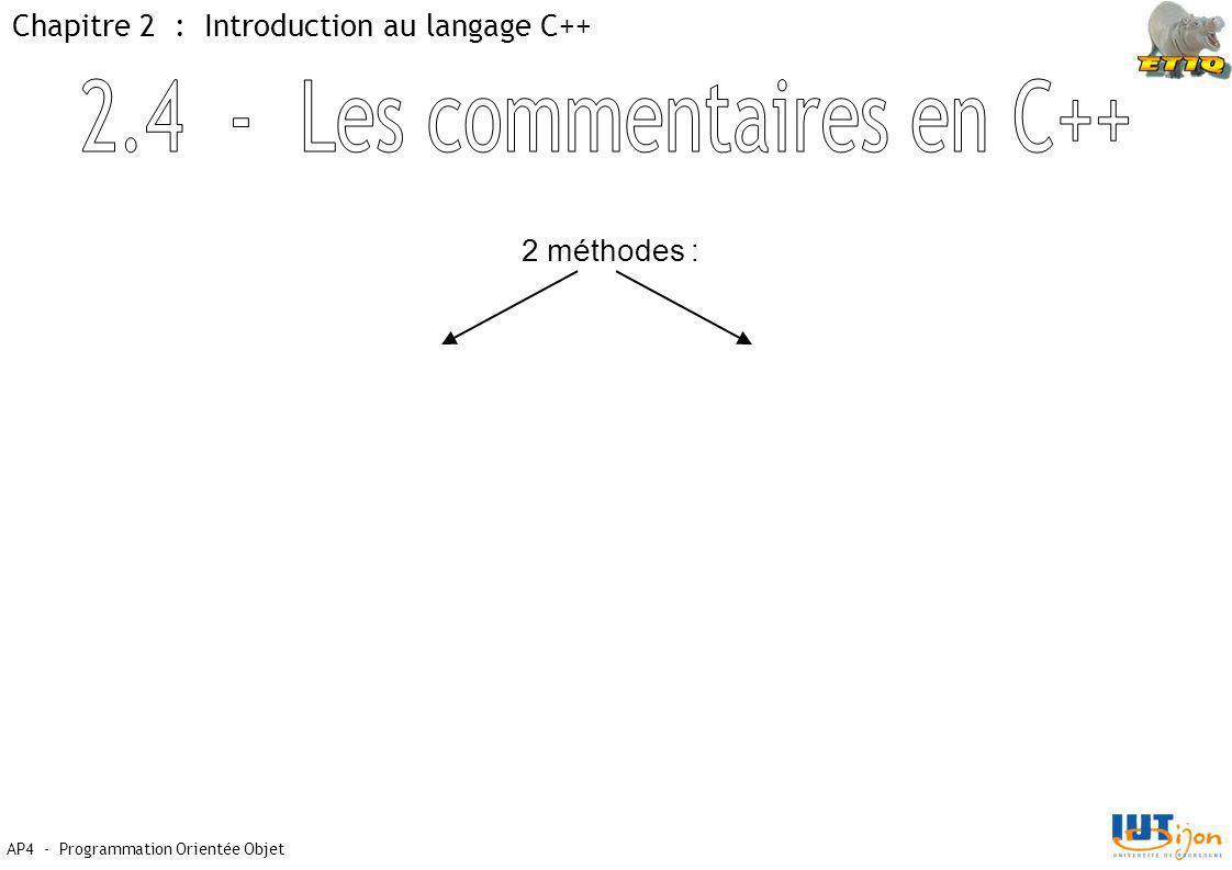 AP4 - Programmation Orientée Objet Chapitre 2 : Introduction au langage C++ 2 méthodes :