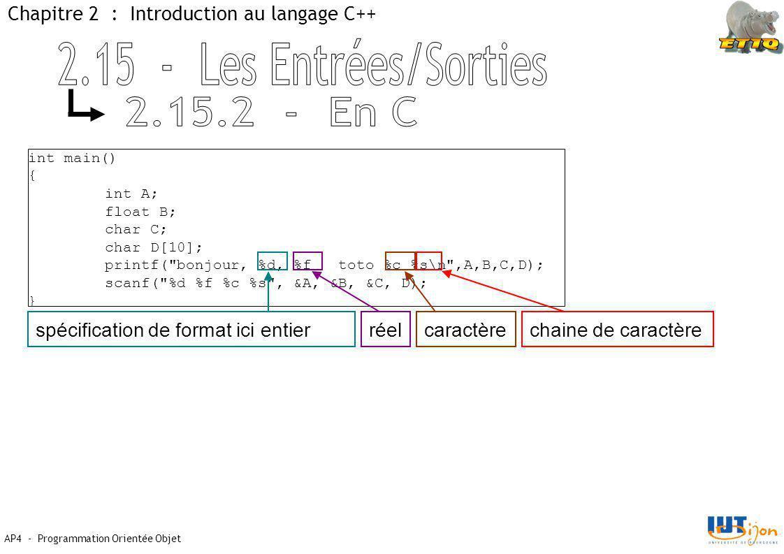 AP4 - Programmation Orientée Objet Chapitre 2 : Introduction au langage C++ int main() { int A; float B; char C; char D[10]; printf( bonjour, %d, %f toto %c %s\n ,A,B,C,D); scanf( %d %f %c %s , &A, &B, &C, D); } spécification de format ici entierréelcaractèrechaine de caractère