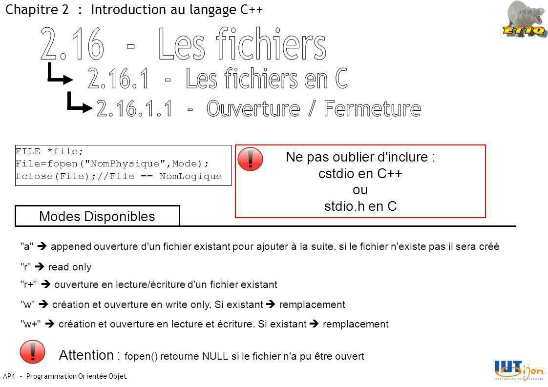 AP4 - Programmation Orientée Objet Chapitre 2 : Introduction au langage C++ FILE *file; File=fopen( NomPhysique ,Mode); fclose(File);//File == NomLogique Ne pas oublier d inclure : cstdio en C++ ou stdio.h en C a  appened ouverture d un fichier existant pour ajouter à la suite.