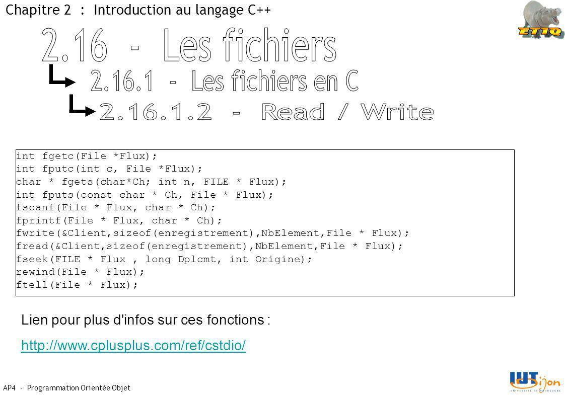 AP4 - Programmation Orientée Objet Chapitre 2 : Introduction au langage C++ int fgetc(File *Flux); int fputc(int c, File *Flux); char * fgets(char*Ch; int n, FILE * Flux); int fputs(const char * Ch, File * Flux); fscanf(File * Flux, char * Ch); fprintf(File * Flux, char * Ch); fwrite(&Client,sizeof(enregistrement),NbElement,File * Flux); fread(&Client,sizeof(enregistrement),NbElement,File * Flux); fseek(FILE * Flux, long Dplcmt, int Origine); rewind(File * Flux); ftell(File * Flux); Lien pour plus d infos sur ces fonctions : http://www.cplusplus.com/ref/cstdio/