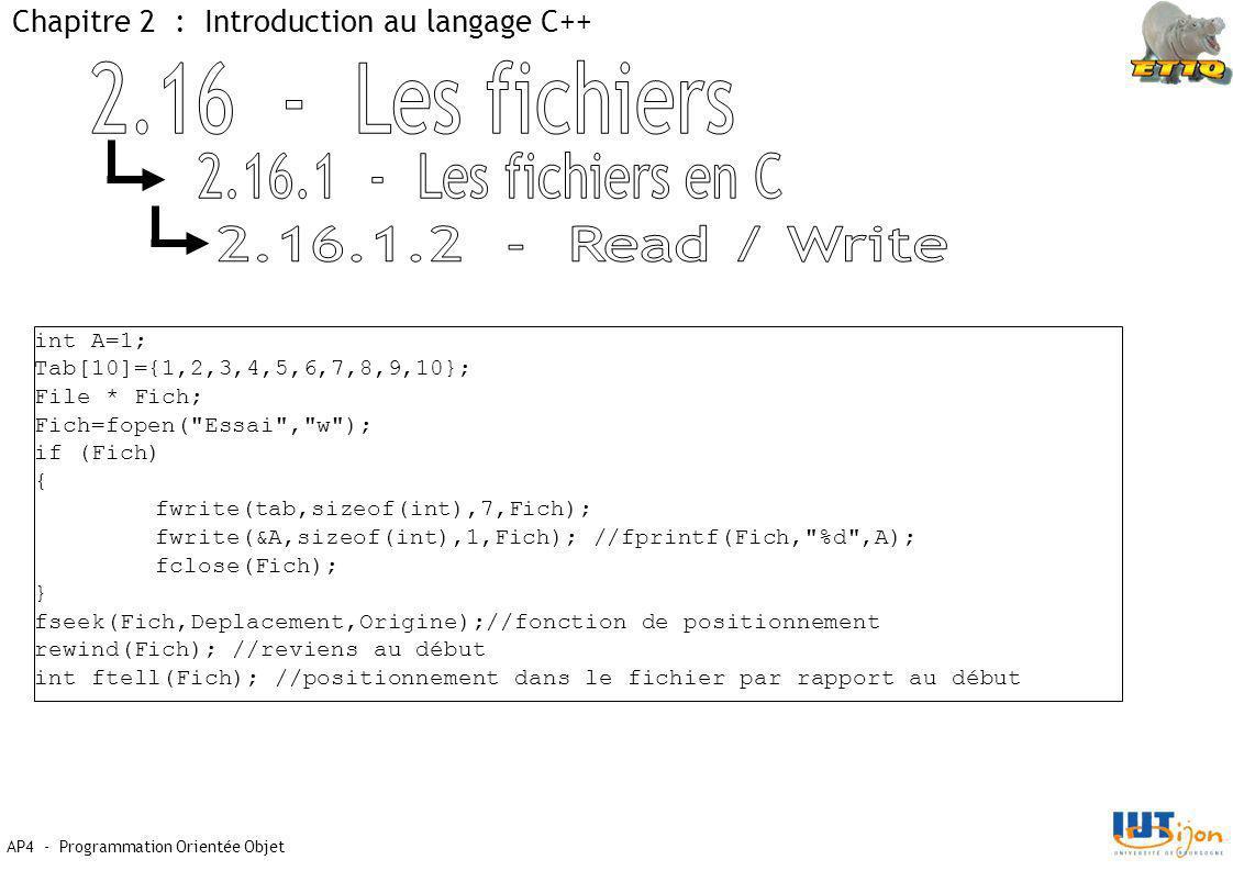 AP4 - Programmation Orientée Objet Chapitre 2 : Introduction au langage C++ int A=1; Tab[10]={1,2,3,4,5,6,7,8,9,10}; File * Fich; Fich=fopen( Essai , w ); if (Fich) { fwrite(tab,sizeof(int),7,Fich); fwrite(&A,sizeof(int),1,Fich); //fprintf(Fich, %d ,A); fclose(Fich); } fseek(Fich,Deplacement,Origine);//fonction de positionnement rewind(Fich); //reviens au début int ftell(Fich); //positionnement dans le fichier par rapport au début