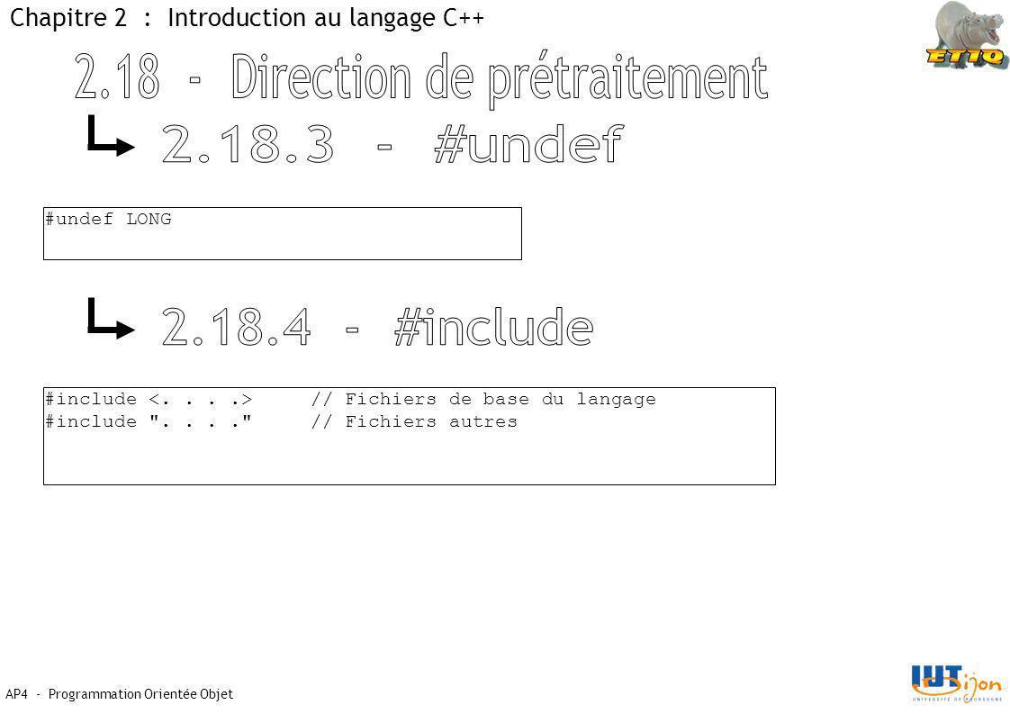 AP4 - Programmation Orientée Objet Chapitre 2 : Introduction au langage C++ #undef LONG #include // Fichiers de base du langage #include .... // Fichiers autres