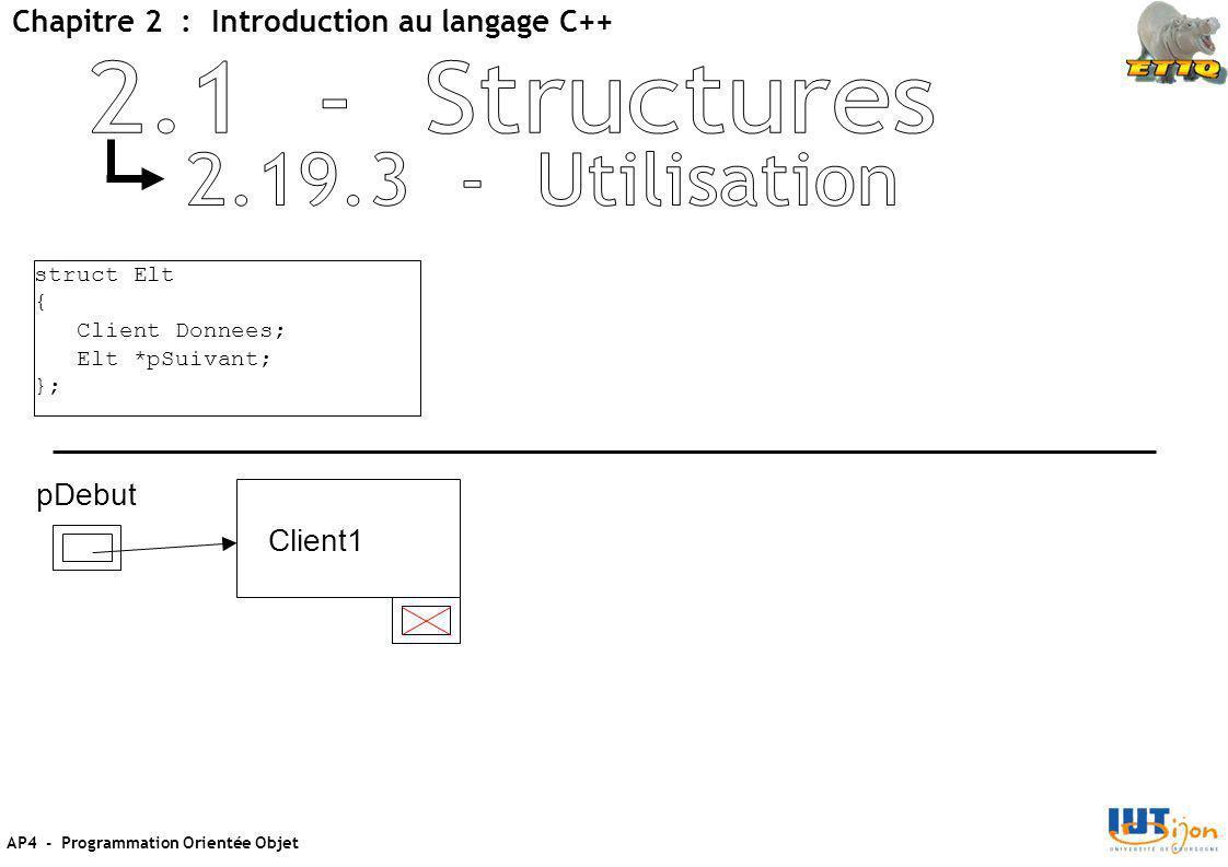 AP4 - Programmation Orientée Objet Chapitre 2 : Introduction au langage C++ struct Elt { Client Donnees; Elt *pSuivant; }; pDebut Client1