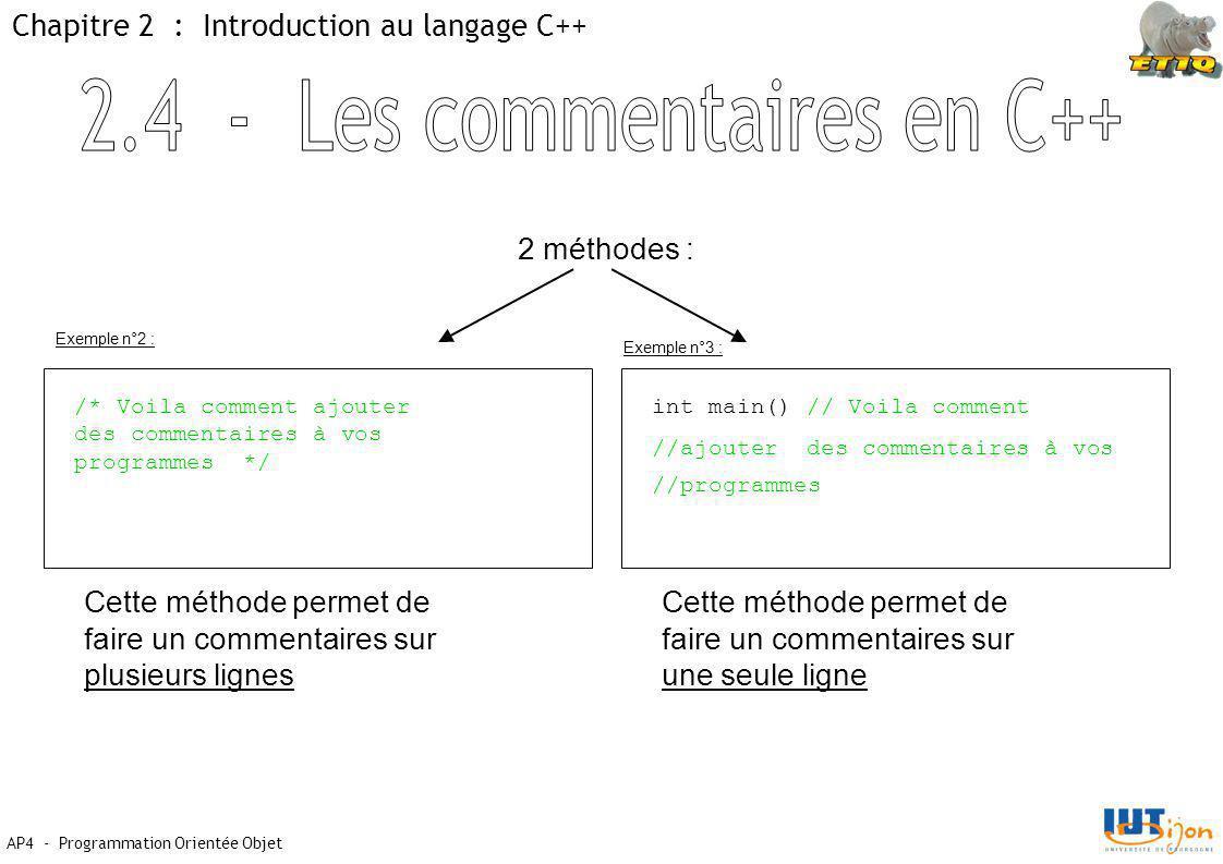 AP4 - Programmation Orientée Objet Chapitre 2 : Introduction au langage C++ 2 méthodes : /* Voila comment ajouter des commentaires à vos programmes */ Cette méthode permet de faire un commentaires sur plusieurs lignes Cette méthode permet de faire un commentaires sur une seule ligne int main() // Voila comment //ajouter des commentaires à vos //programmes Exemple n°2 : Exemple n°3 :
