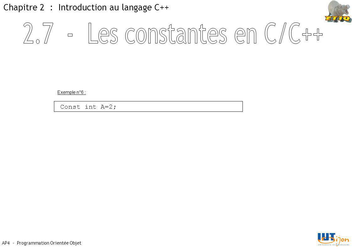 AP4 - Programmation Orientée Objet Chapitre 2 : Introduction au langage C++ Const int A=2; Exemple n°6 :