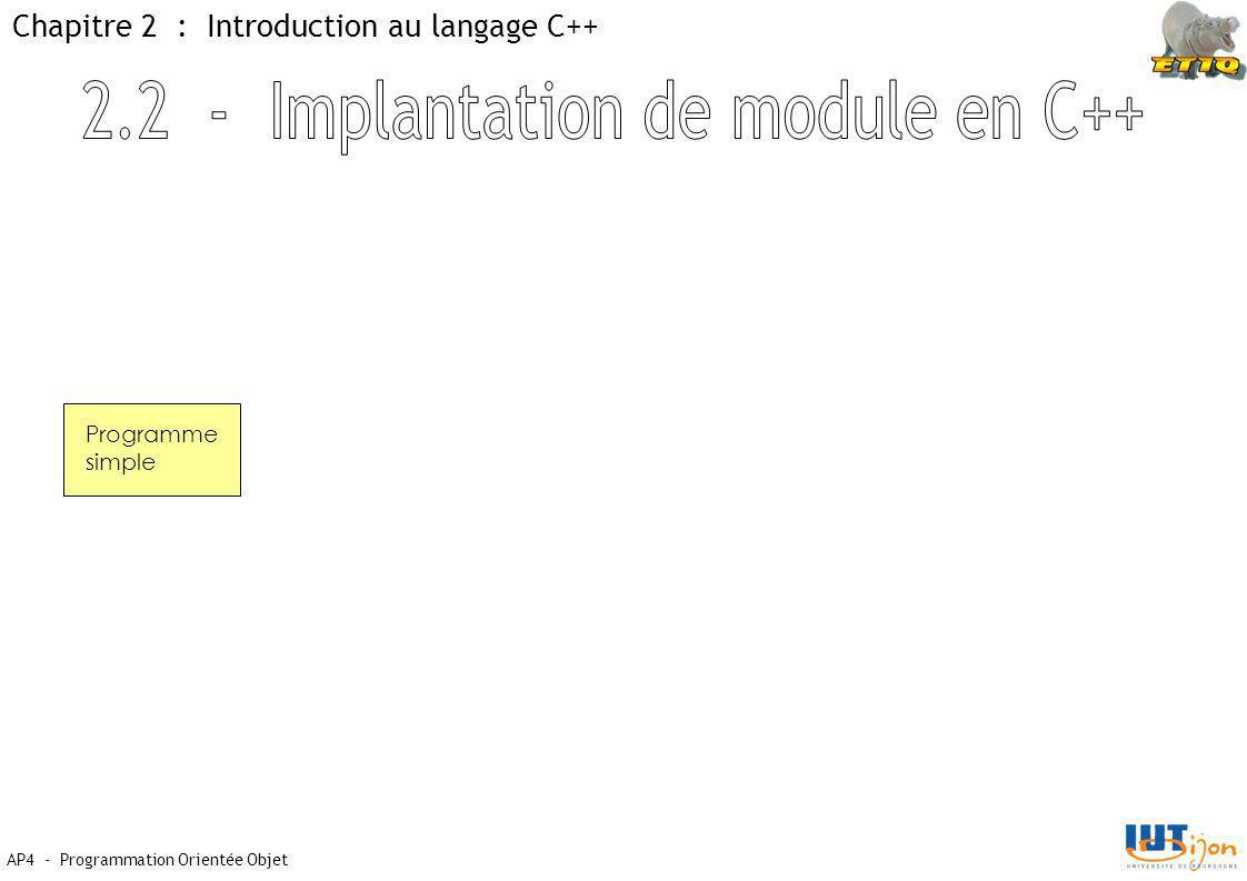 AP4 - Programmation Orientée Objet Chapitre 2 : Introduction au langage C++ Programme simple