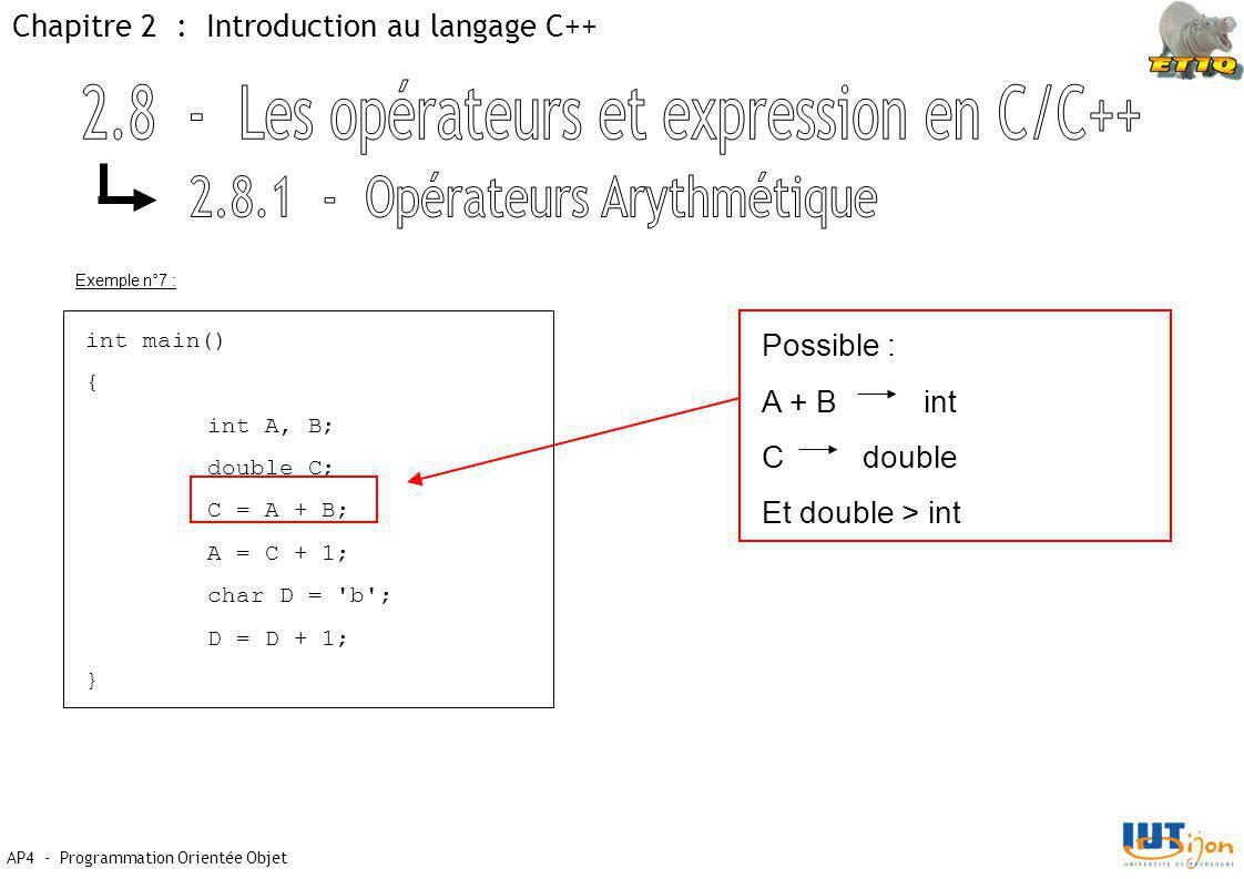 AP4 - Programmation Orientée Objet Chapitre 2 : Introduction au langage C++ Exemple n°7 : int main() { int A, B; double C; C = A + B; A = C + 1; char D = b ; D = D + 1; } Possible : A + B int C double Et double > int