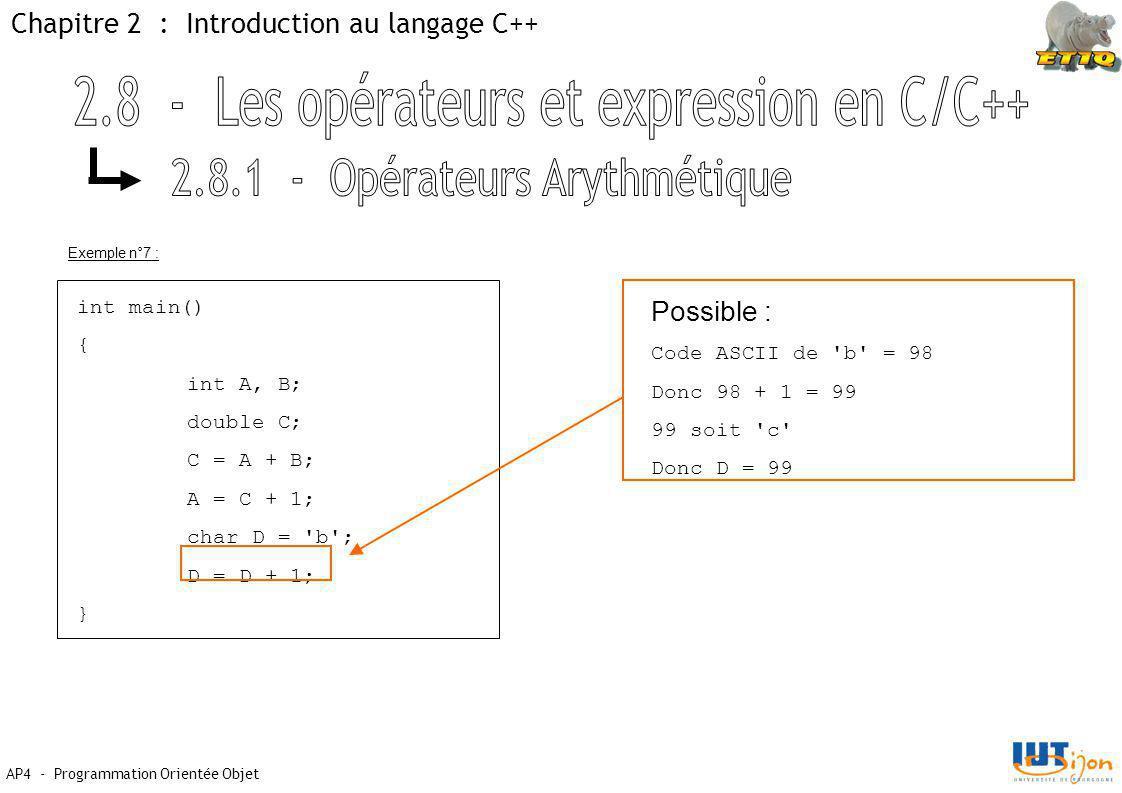 AP4 - Programmation Orientée Objet Chapitre 2 : Introduction au langage C++ int main() { int A, B; double C; C = A + B; A = C + 1; char D = b ; D = D + 1; } Possible : Code ASCII de b = 98 Donc 98 + 1 = 99 99 soit c Donc D = 99 Exemple n°7 :