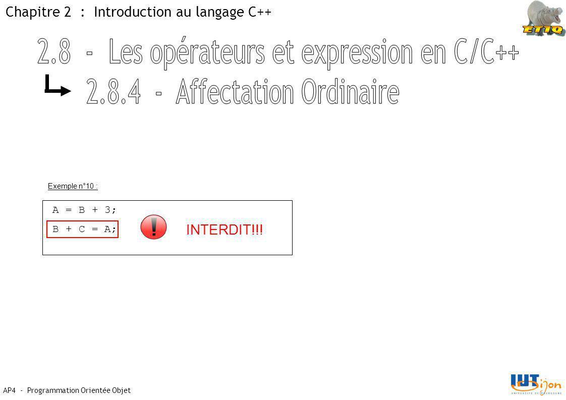 Chapitre 2 : Introduction au langage C++ AP4 - Programmation Orientée Objet A = B + 3; B + C = A; INTERDIT!!! Exemple n°10 :