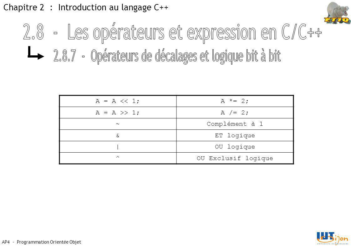 Chapitre 2 : Introduction au langage C++ AP4 - Programmation Orientée Objet A = A << 1;A *= 2; A = A >> 1;A /= 2; ~Complément à 1 &ET logique |OU logique ^OU Exclusif logique