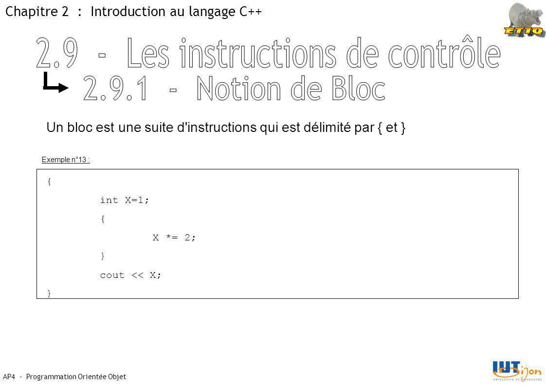 Chapitre 2 : Introduction au langage C++ AP4 - Programmation Orientée Objet Un bloc est une suite d instructions qui est délimité par { et } { int X=1; { X *= 2; } cout << X; } Exemple n°13 :