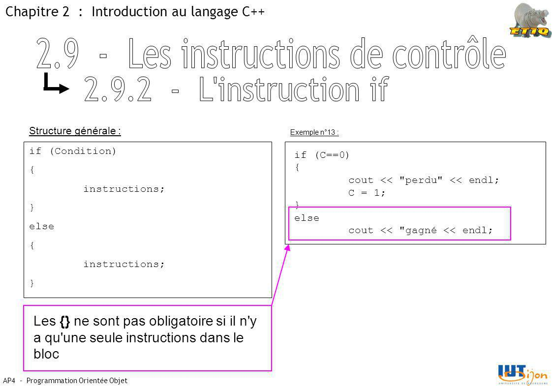 Chapitre 2 : Introduction au langage C++ AP4 - Programmation Orientée Objet Structure générale : Exemple n°13 : if (Condition) { instructions; } else { instructions; } if (C==0) { cout << perdu << endl; C = 1; } else cout << gagné << endl; Les {} ne sont pas obligatoire si il n y a qu une seule instructions dans le bloc