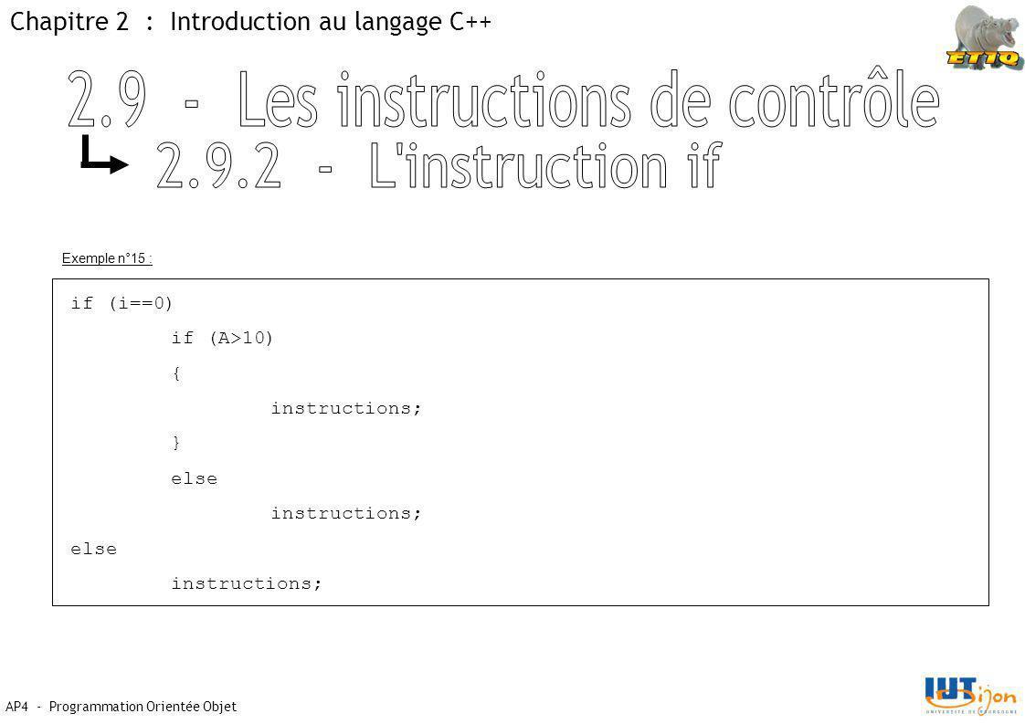 Chapitre 2 : Introduction au langage C++ AP4 - Programmation Orientée Objet Exemple n°15 : if (i==0) if (A>10) { instructions; } else instructions; else instructions;