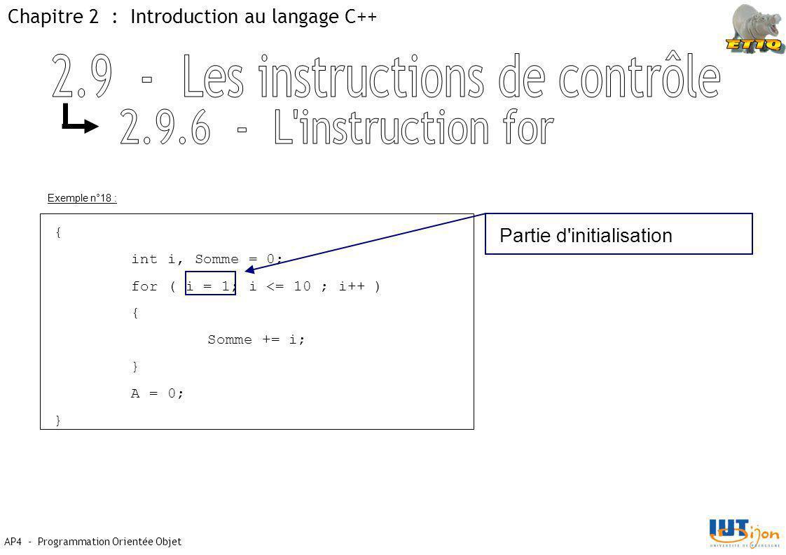 Chapitre 2 : Introduction au langage C++ AP4 - Programmation Orientée Objet Exemple n°18 : { int i, Somme = 0; for ( i = 1; i <= 10 ; i++ ) { Somme += i; } A = 0; } Partie d initialisation