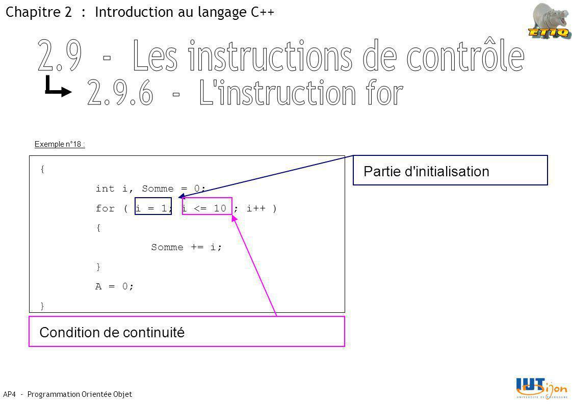 Chapitre 2 : Introduction au langage C++ AP4 - Programmation Orientée Objet Exemple n°18 : { int i, Somme = 0; for ( i = 1; i <= 10 ; i++ ) { Somme += i; } A = 0; } Partie d initialisation Condition de continuité
