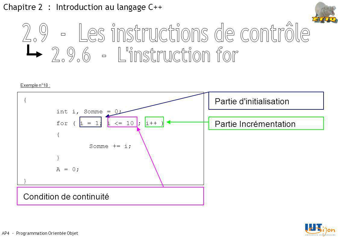 Chapitre 2 : Introduction au langage C++ AP4 - Programmation Orientée Objet Exemple n°18 : { int i, Somme = 0; for ( i = 1; i <= 10 ; i++ ) { Somme += i; } A = 0; } Partie d initialisation Condition de continuité Partie Incrémentation