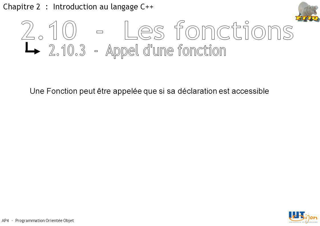 Chapitre 2 : Introduction au langage C++ AP4 - Programmation Orientée Objet Une Fonction peut être appelée que si sa déclaration est accessible