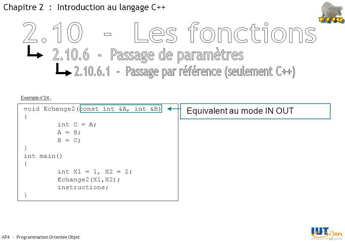 Chapitre 2 : Introduction au langage C++ AP4 - Programmation Orientée Objet Exemple n°24 : void Echange2(const int &A, int &B) { int C = A; A = B; B = C; } int main() { int X1 = 1, X2 = 2; Echange2(X1,X2); instructions; } Equivalent au mode IN OUT
