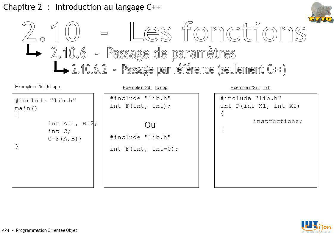 Chapitre 2 : Introduction au langage C++ AP4 - Programmation Orientée Objet Exemple n°25 : tst.cpp #include lib.h main() { int A=1, B=2; int C; C=F(A,B); } Exemple n°26 : lib.cppExemple n°27 : lib.h #include lib.h int F(int, int); #include lib.h int F(int X1, int X2) { instructions; } Ou #include lib.h int F(int, int=0);